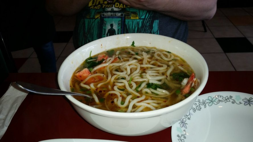 Japanese noodle soup this was the seafood variety with udon and shrimp and lobster meatballs.