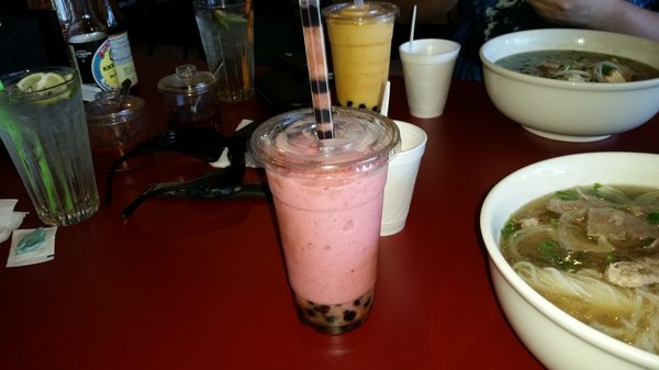 Strawberry banana smoothie with Boba quite refreshing and delicious.